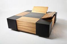 Custom Made Zebrawood And Walnut Coffee Table With Storage