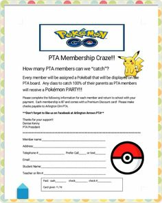 New PTA theme. Pokémon Go. Can't wait to get the kids and parents involved this year. Whole school year will be dedicated to Pokémon and the cute little critters :-)