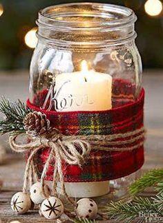 Neue DIY Weihnachten 2019 Trends - Home Dekoration Mason Jar Christmas Crafts, Christmas Candles, Christmas Centerpieces, Mason Jar Crafts, Mason Jar Diy, Xmas Crafts, Centerpiece Ideas, Candle Mason Jars, Rustic Christmas Crafts