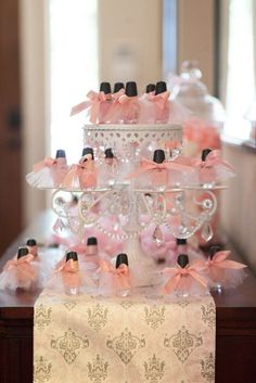 Shabby chic baby shower party favors! See more party planning ideas at CatchMyParty.com!