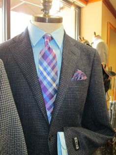 Make a statement with this Sport Coat from David's Master Collection, Brandolini shirt, Forsythe tie, Daniel Dolce pocket square.   www.davelleclothiers.com