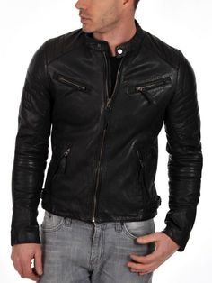 New Men's Genuine Lambskin Leather Jacket Black Slim fit Biker jacket Lambskin Leather Jacket, Leather Men, Real Leather, Black Leather, Leather Jackets, Biker Leather, Black Biker Jacket, Bomber Jacket, Vintage Cafe Racer