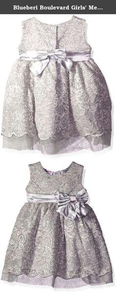 Blueberi Boulevard Girls' Metallic Lace Satin Bow Waist Dress, Silver, 6/9 Months. Bluebird sleeveless lace sparkle dress with bow at waist layered scalloped hem.