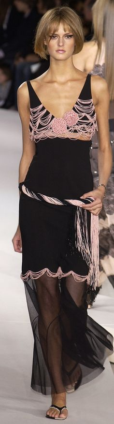 Chanel ~ Sleeveless Low Neckline Black Maxi w Pink Embroidery on Bodice