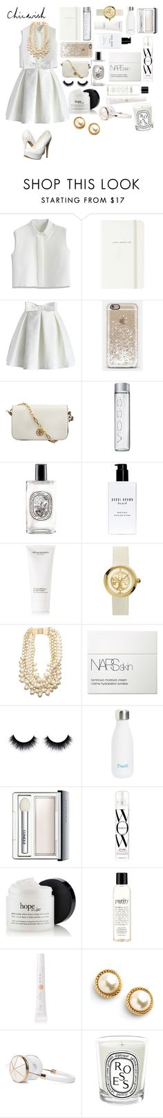 """Little white lie"" by lacrosse-19 ❤ liked on Polyvore featuring Chicwish, Kate Spade, Casetify, Tory Burch, Diptyque, Bobbi Brown Cosmetics, African Botanics, NARS Cosmetics, S'well and Clinique"