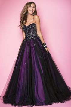 Sexy prom dress in stones! This hot ballgown drapes your bodice in rectangular beads that drape your back in thick straps.