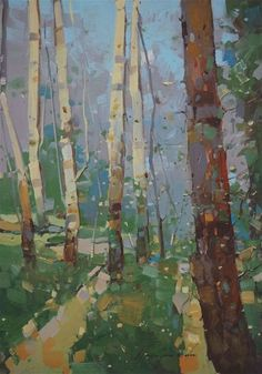Cobalt Forest, Landscape oil painting, Birches Grove, One of a kind, Signed, Hand Painted