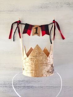 Lumberjack Birthday Party Crown and Cake Topper, Lumberjack First Birthday, Boy First Birthday, Cake Smash Photo Props, Wood Buffalo Plaid by FetesAndFables on Etsy https://www.etsy.com/listing/465111424/lumberjack-birthday-party-crown-and-cake