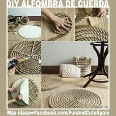 Puedes crear una alfombra muy chic siguiendo estos sencillos pasos. ➡ Más ideas en YouTube  https://www.youtube.com/channel/UC_tmePzANQVtCMWUzinpEdA - También puedes visitarme en Instagram ➡ ➡ www.instagram.com/funandcutespain/ -- #diy #decor #hogar #decoracion #casas #manualidades #reciclaje