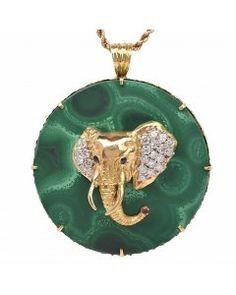 Vintage Malachite malachite Elephant Gold Pendant