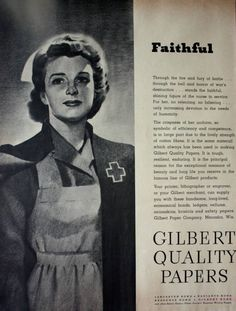 1944 Gilbert Quality Papers Red Cross Nurse WWII Vintage Print Ad | eBay