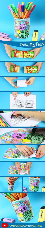 Faça você mesmo um porta Lápis mega estiloso e colorido, reciclando lata de batata chips. DIY, do it yourself, Dany Martines