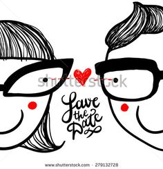 """Cute doodle """"in love"""" couple in eyeglasses and hand lettering """"save the date"""" - stock vector"""