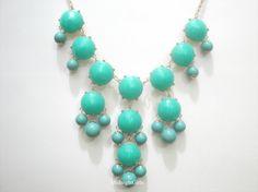 J.Crew Bubble Necklace,  Bauble Necklace, Turquoise Bubble Necklace, J Crew Inspired, Turquoise Chunky Necklace