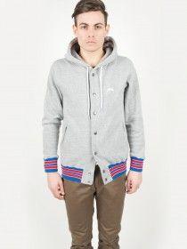 Stüssy Hooded Snap Fleece Jacket Heather Grey