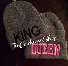 Queen & King Beanies for Couples with Custom by TheCoutumeShop, $35.00