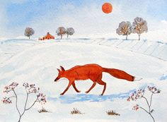 Original Watercolour Painting - FOX IN THE WINTER COUNTRYSIDE