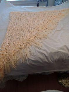 "Vintage Handmade Crocheted  Shawl 97""x78"""
