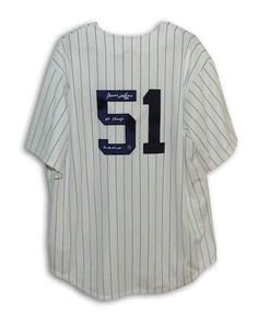 77c574c79 Autographed Bernie Williams New York Yankees Pinstripe Majestic Jersey  Inscribed  WS Champs 96