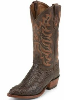 Tony Lama Boots Mens Exotic Western Cowboy Chocolate Vintage Hornback Caiman Boots 1062