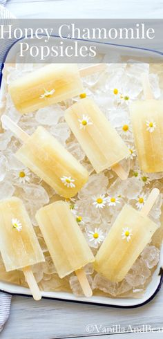 Have on the ready when the temperature heat up. SO refreshing on a summer evening! | Honey Chamomile Popsicles