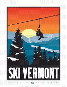 Vintage Ski Posters at Gremlin Fine Arts Gallery Official Website and Store Vermont Skiing, Vermont Winter, Vintage Ski Posters, Retro Poster, Vintage Hawaii, Fine Art Gallery, Picture Wall, Decoration, Fine Art Prints