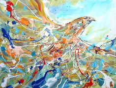 "Free by Piero Manrique | $1,300 | acrylic painting | 30"" h x 40"" w 