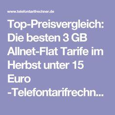 Top-Preisvergleich: Die besten 3 GB Allnet-Flat Tarife im Herbst unter 15 Euro -Telefontarifrechner.de News