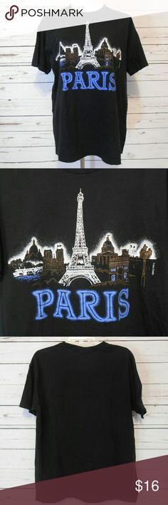 """Paris T Shirt Armpit-armpit 22"""" Length 28"""" Dream big! Eiffel tower Paris!  Mid-weight cotton t-shirt. Black with graphic design.  Machine wash. Unworn.   2016261 Paris Tops Tees - Short Sleeve"""