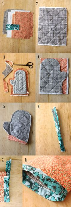 Fun housewarming gift or little zip of color in the kitchen. Make Your Own Oven Mitts via A Beautiful Mess
