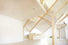 House H: Y Beams, Hanging Floors and Irregular Cutouts Transform a Tiny Japanese Home House H by Hiroyuki Shinozaki Architects – Inhabitat - Sustainable Design Innovation, Eco Architecture, Green Building Architecture Design, Japanese Architecture, Amazing Architecture, Contemporary Architecture, Turbulence Deco, Timber Structure, Architect House, Japanese House, Simple House