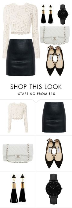 """Leather Skirt (OUTFIT ONLY!)"" by tlb0318 ❤ liked on Polyvore featuring A.L.C., McQ by Alexander McQueen, Karl Lagerfeld, Jimmy Choo and CLUSE"