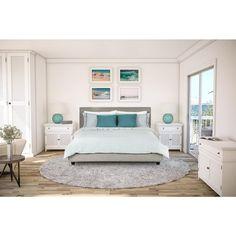 Avenue Greene Mileto Grey Linen Modern Upholstered King Bed   $700   overstock.com