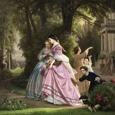 """""""Josephus Laurentius Dyckmans He loves me, he loves me not [ca. late oil on panel Painting x x 16 Private collection Image via the Athenaeum Signed"""" Classic Paintings, Old Paintings, Beautiful Paintings, Victorian Paintings, Victorian Art, Renaissance Kunst, Academic Art, Classical Art, Renoir"""