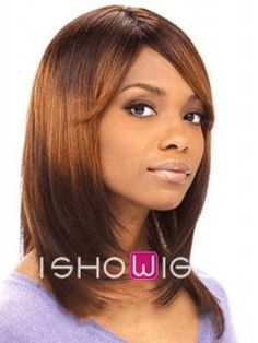 This is a mid-length layered, straight-cut wig. This hair piece is made of 100% remy human hair with side swept fringes and lace front cap. It also can be curled to create another image if you like.