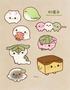 Cute Animal Drawings Kawaii, Cute Food Drawings, Cute Kawaii Animals, Funny Drawings, Cartoon Drawings, Easy Drawings, Kawaii Doodles, Cute Doodles, Kawaii Art