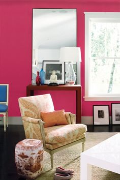 Hot Pink Living Room | - living rooms - Benjamin Moore - Peony - pink living room, pink ...