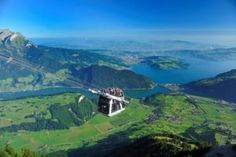 On the cable car on Stanserhorn with view over the Vierwaltstättersee with Lake Luzern and the city as backdrop. Engelberg, Jungfraujoch, Austria, Switzerland, Airplane View, Places Ive Been, Golf Courses, Backdrops, City