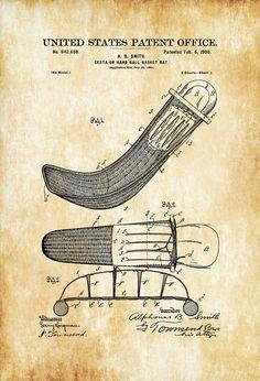 Jai Alai Cesta Basket Patent - Patent Print Jai Alai Art Jai Alai Gift Hand Ball Basket Bat Sports Art Jai Alai Patent Cesta Patent by PatentsAsPrints