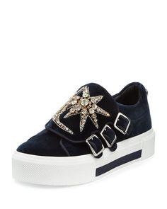 Alexander McQueen Triple-Monk Velvet Sneaker w Jeweled Moon   Star 03646bbbc99