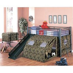 Coaster Army Loft Bed with Slide and Tent $389