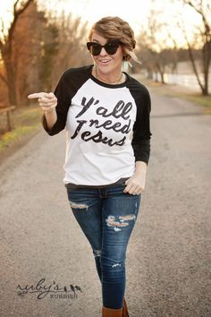 Y'all Need Jesus raglan by RubysRubbish on Etsy