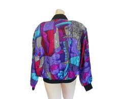 Women Bomber Jacket 90s Funky Shiny Puffy by #ShineBrightVintage