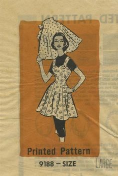 Vintage Apron Sewing Pattern | Mail Order 9188 | Year 195? | Size Large