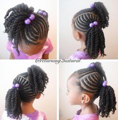 A Fall, Spring and Summer hair style. We won't do this for Winter because I want her ends tucked in. Lil Girl Hairstyles, Girls Natural Hairstyles, Natural Hairstyles For Kids, Kids Braided Hairstyles, Natural Hair Styles, Toddler Hairstyles, Hairstyles Pictures, Children Hairstyles, Pigtail Hairstyles