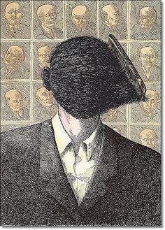 Roland Topor - Ilustração para o livro  Nouvelles de trois lignes, de Félix Fénéon - 1975 - Revista Graphis  226 - 1983