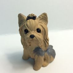 Yorkie Dog Sculpture Polymer Clay Mini by Raquel at theWRC YORKSHIRE TERRIER DOG Collectible