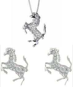 #Ferarri and #Damiani 18K white gold and diamond pendant and earrings