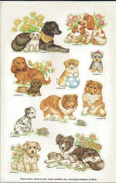 Scrapbook Stickers Vintage  CURRENT 1 Large sheet 10 DOGS 16746-5 A1-1 #Current #Stickers