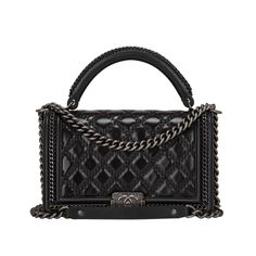 ebd3d5fd4ed Chanel Black Quilted Shiny Goatskin New Medium Boy Bag With Top .